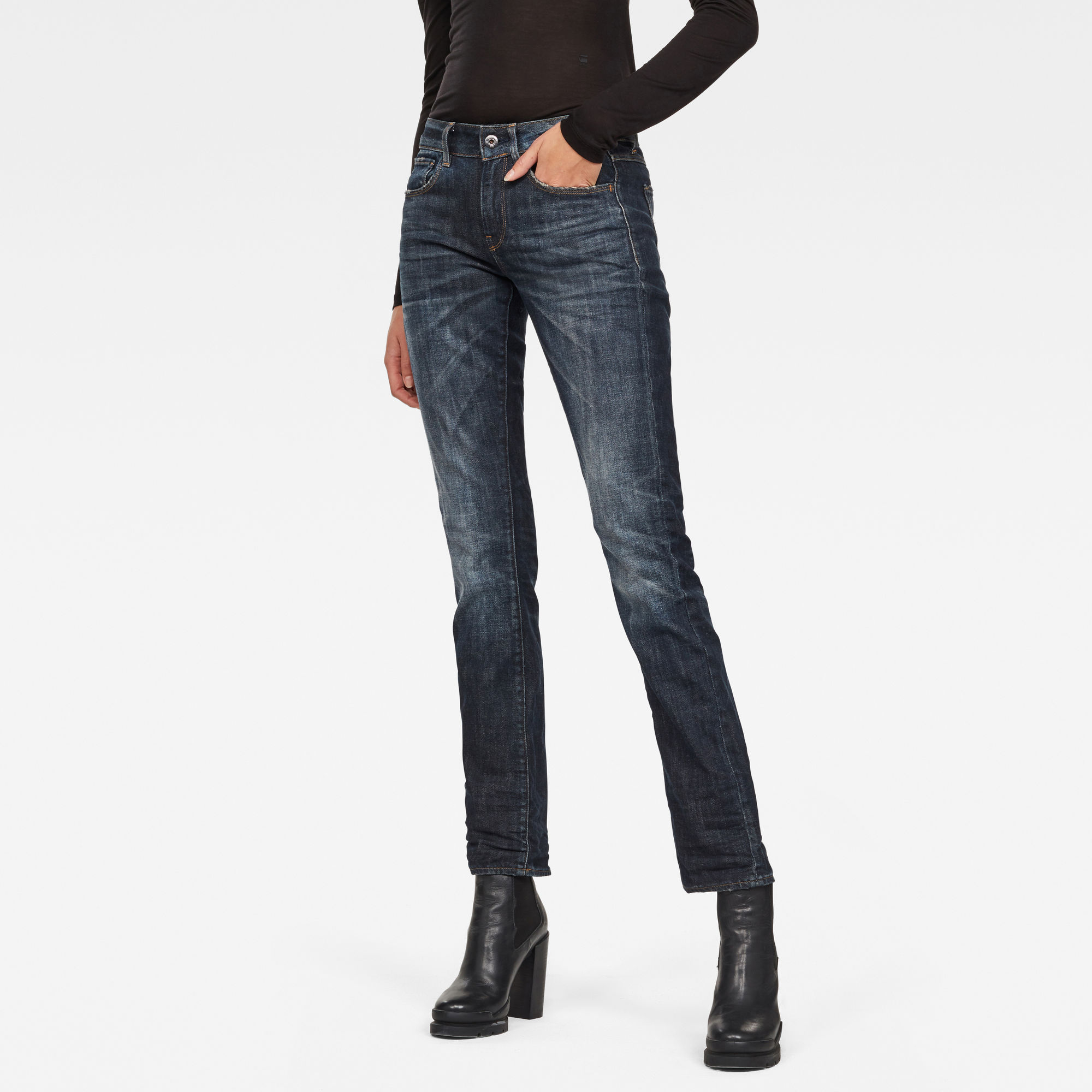 Image of G Star Raw 3301 Deconstructed Mid Waist Straight Jeans