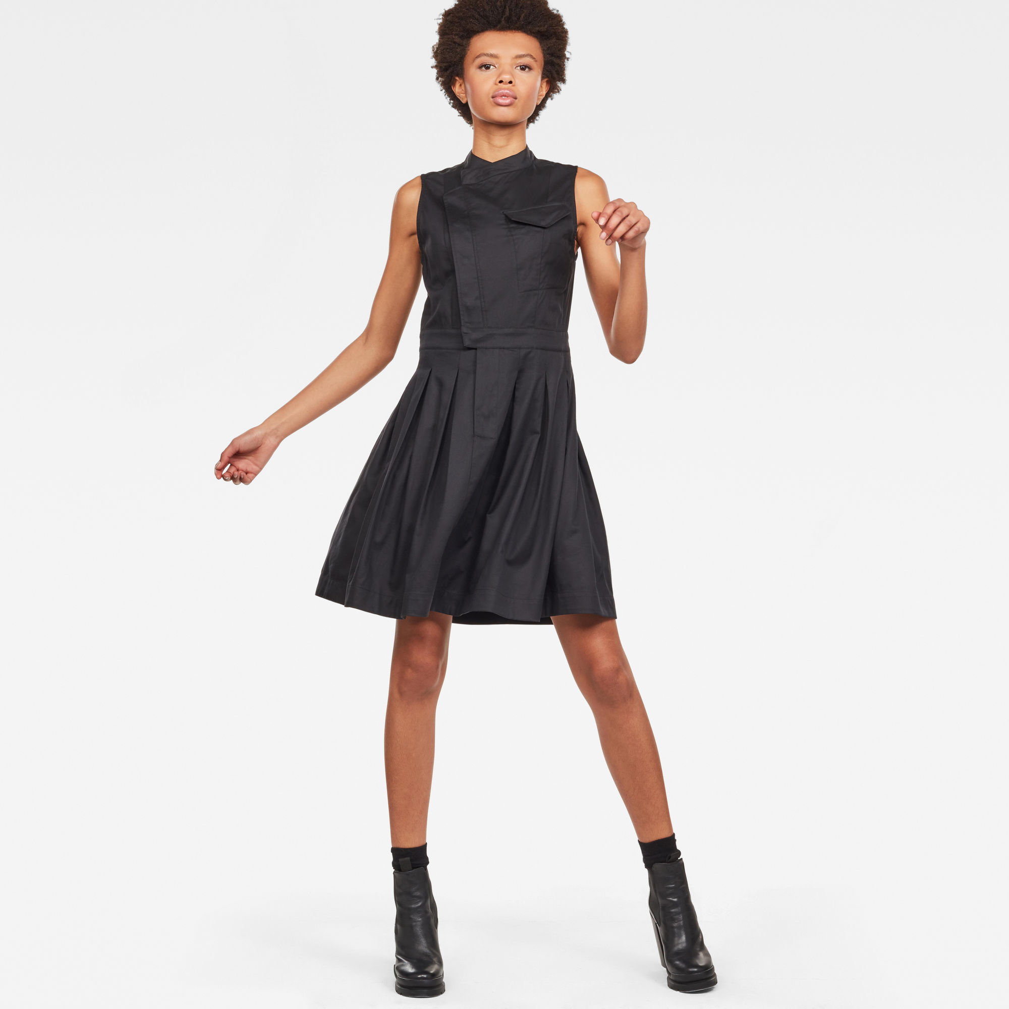 G Star Raw Pleated Sleeveless Shirt Dress