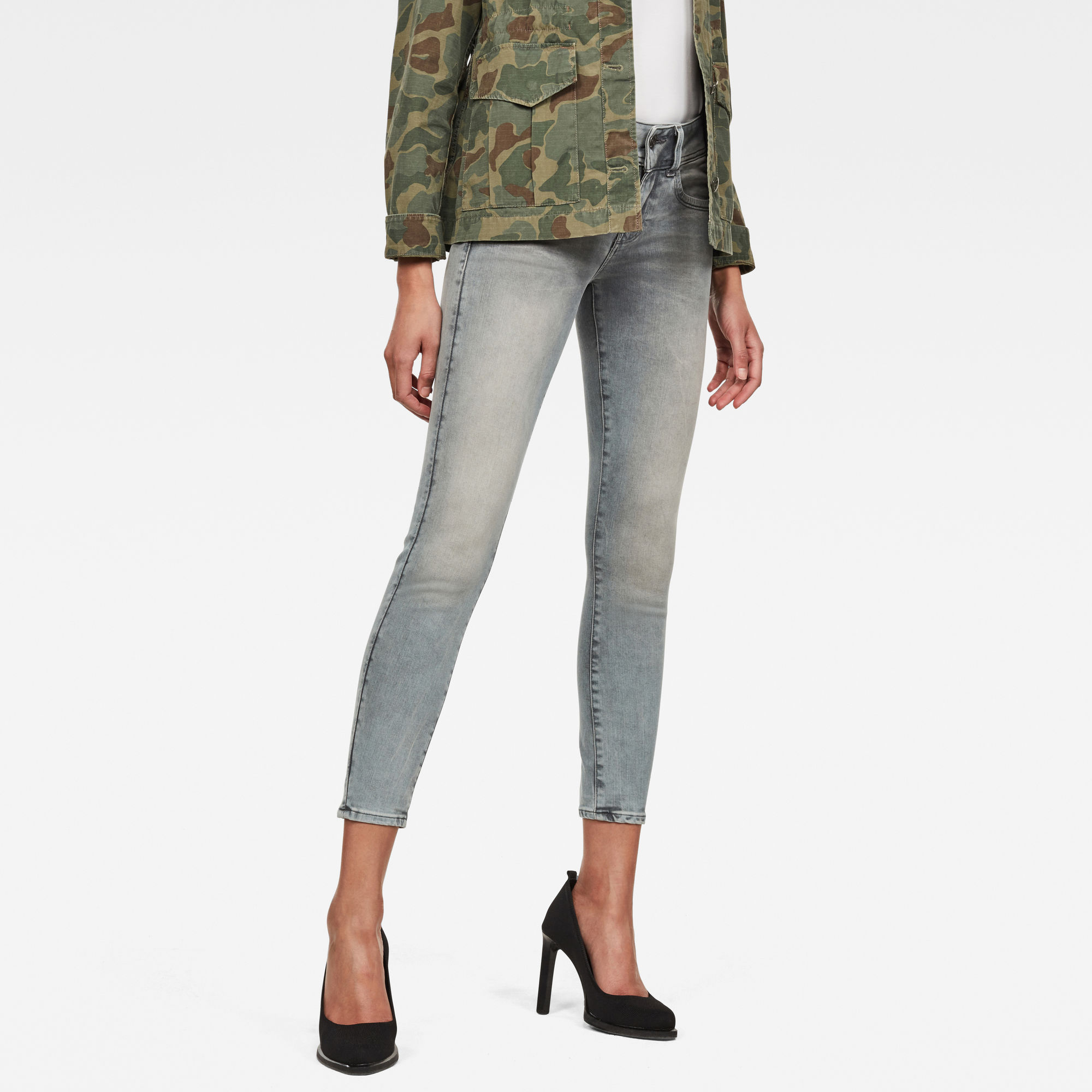 Image of G Star Raw Lynn Mid Waist Skinny Ankle Jeans