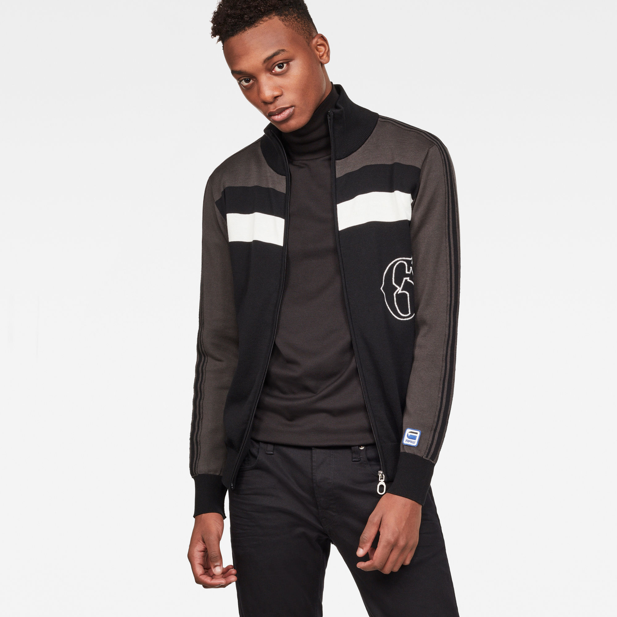 Image of G Star Raw Track Drop Zip Through Knit