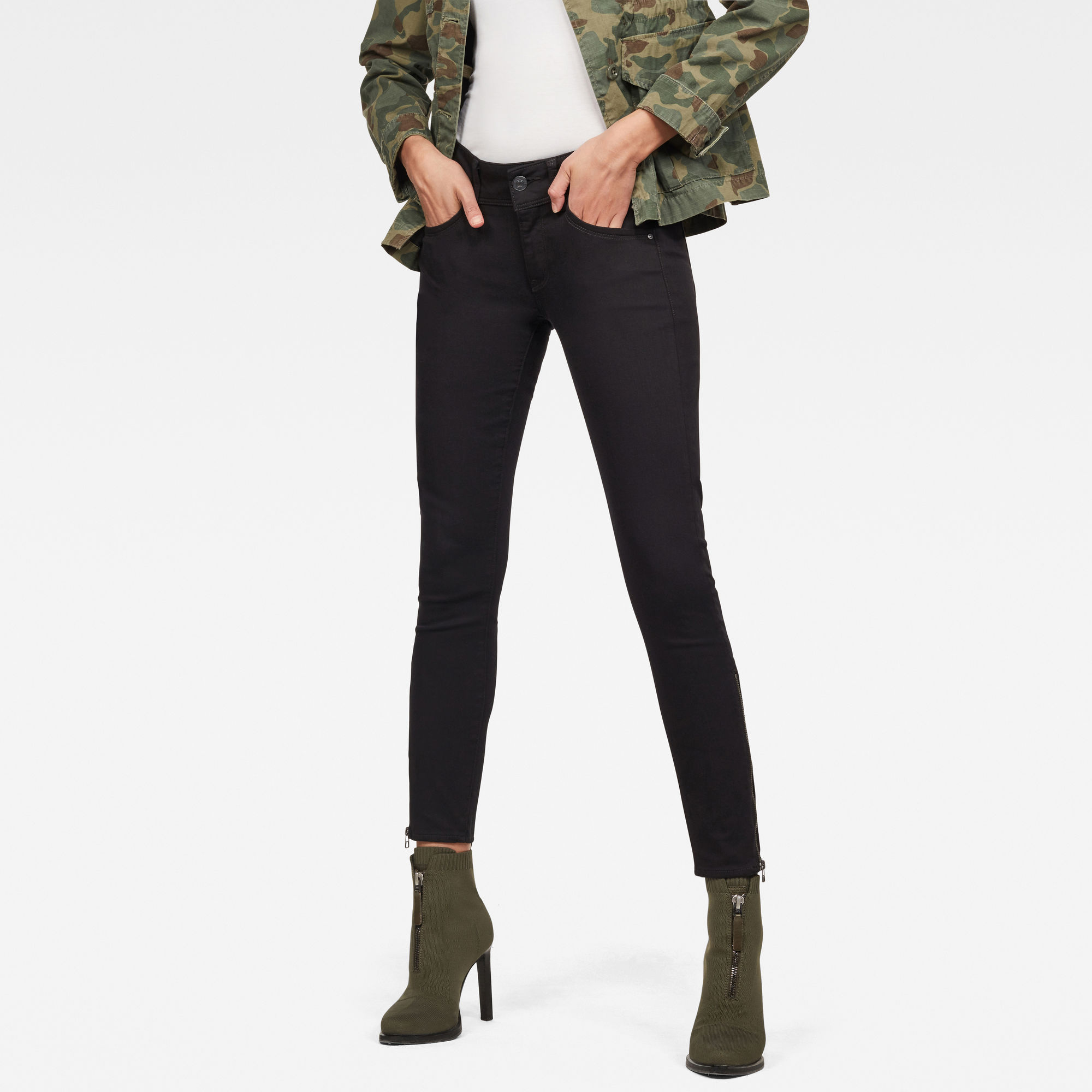 Image of G Star Raw Lynn Mid Waist Skinny Zip Ankle Jeans