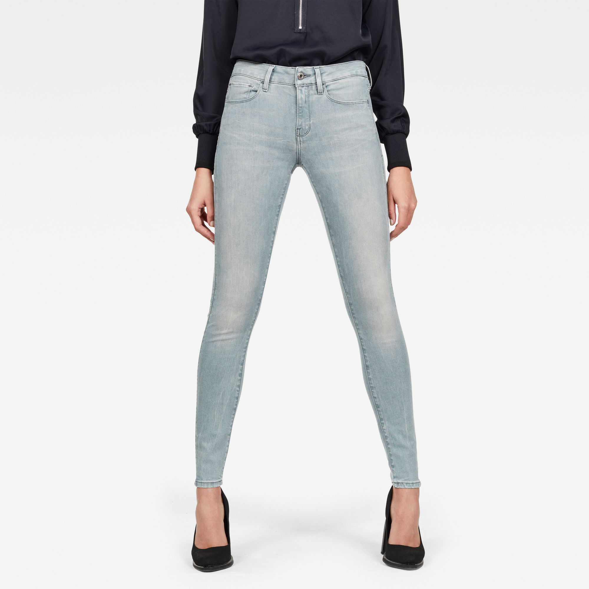 Image of G Star Raw 3301 Deconstructed Mid Waist Skinny Jeans