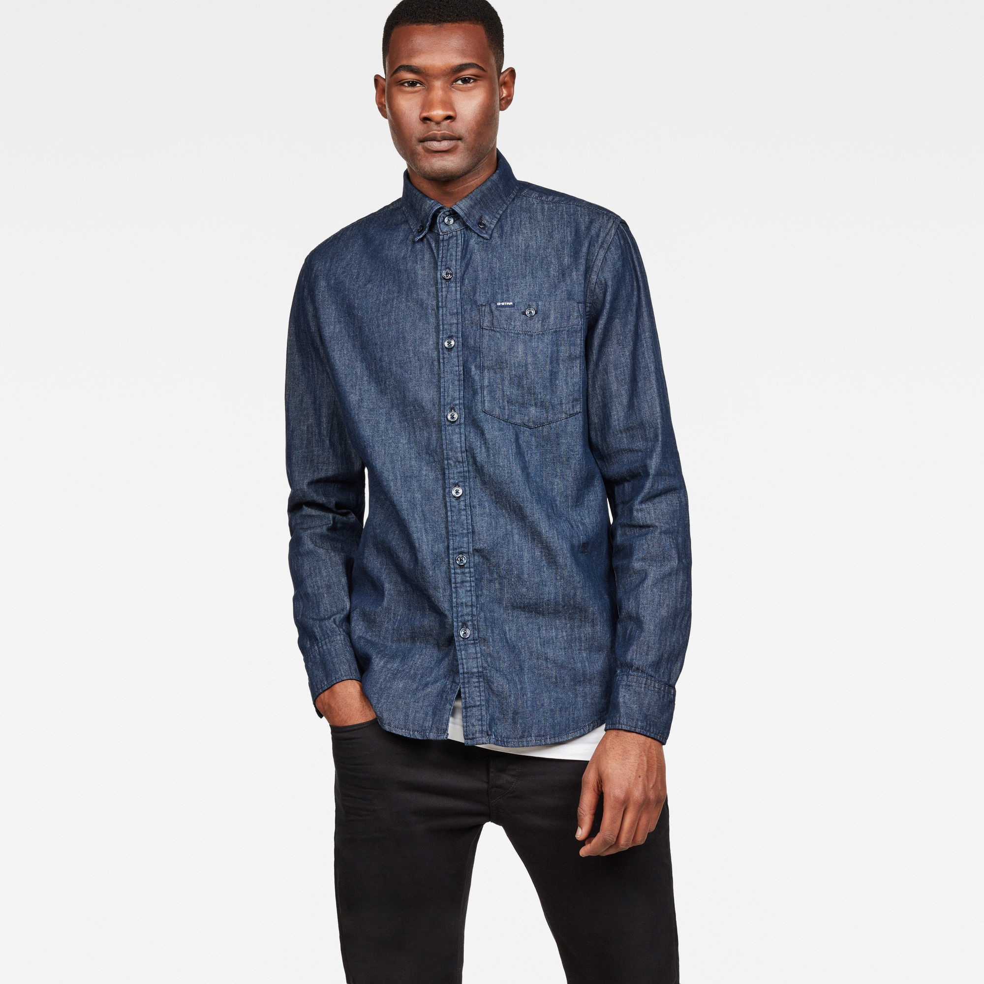 Image of G Star Raw Core Button Down Denim Slim Shirt