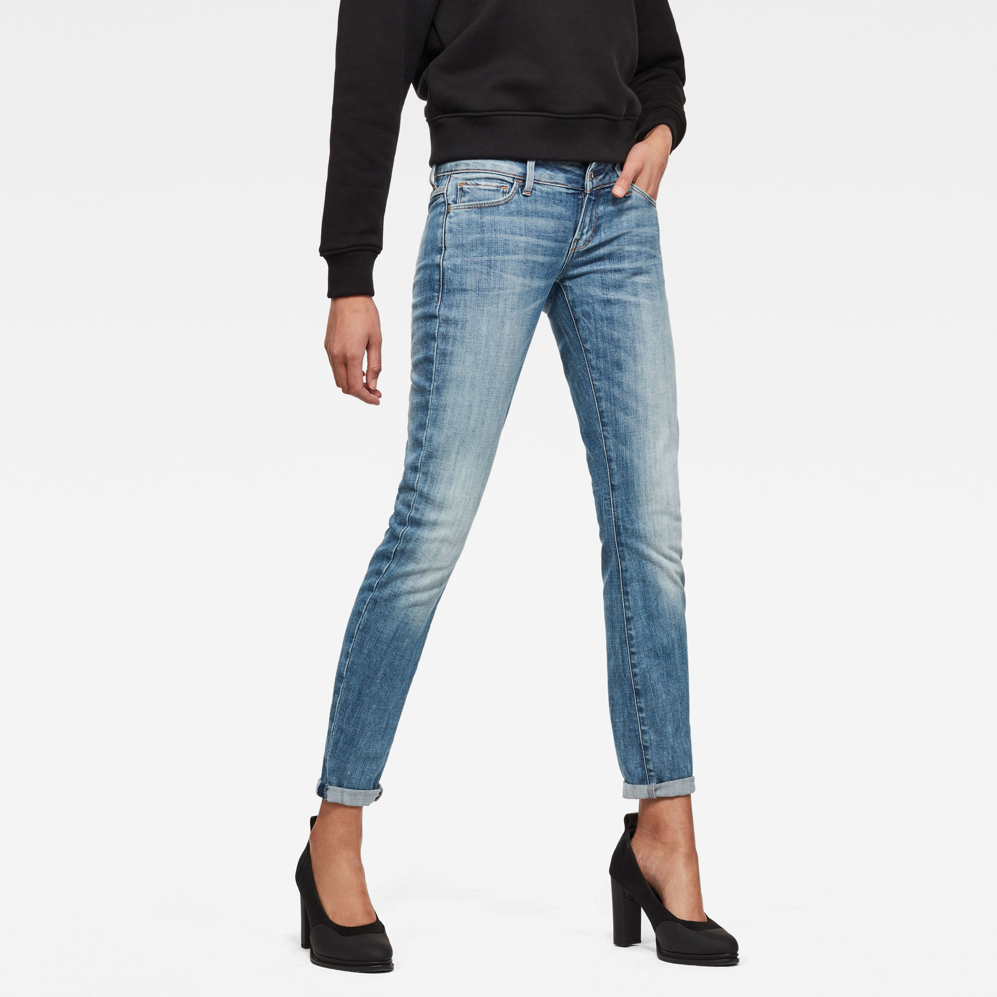 Image of G Star Raw 3301 Deconstructed Low Waist Skinny Jeans