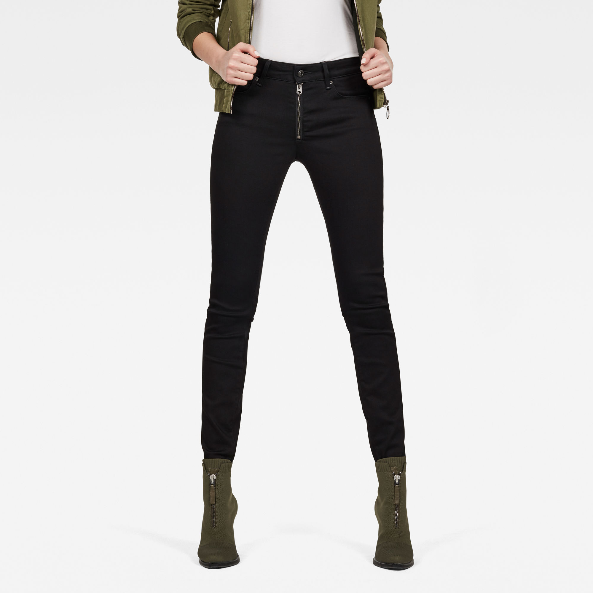 Image of G Star Raw G-Star Shape Zip High Waist Super Skinny Jeans