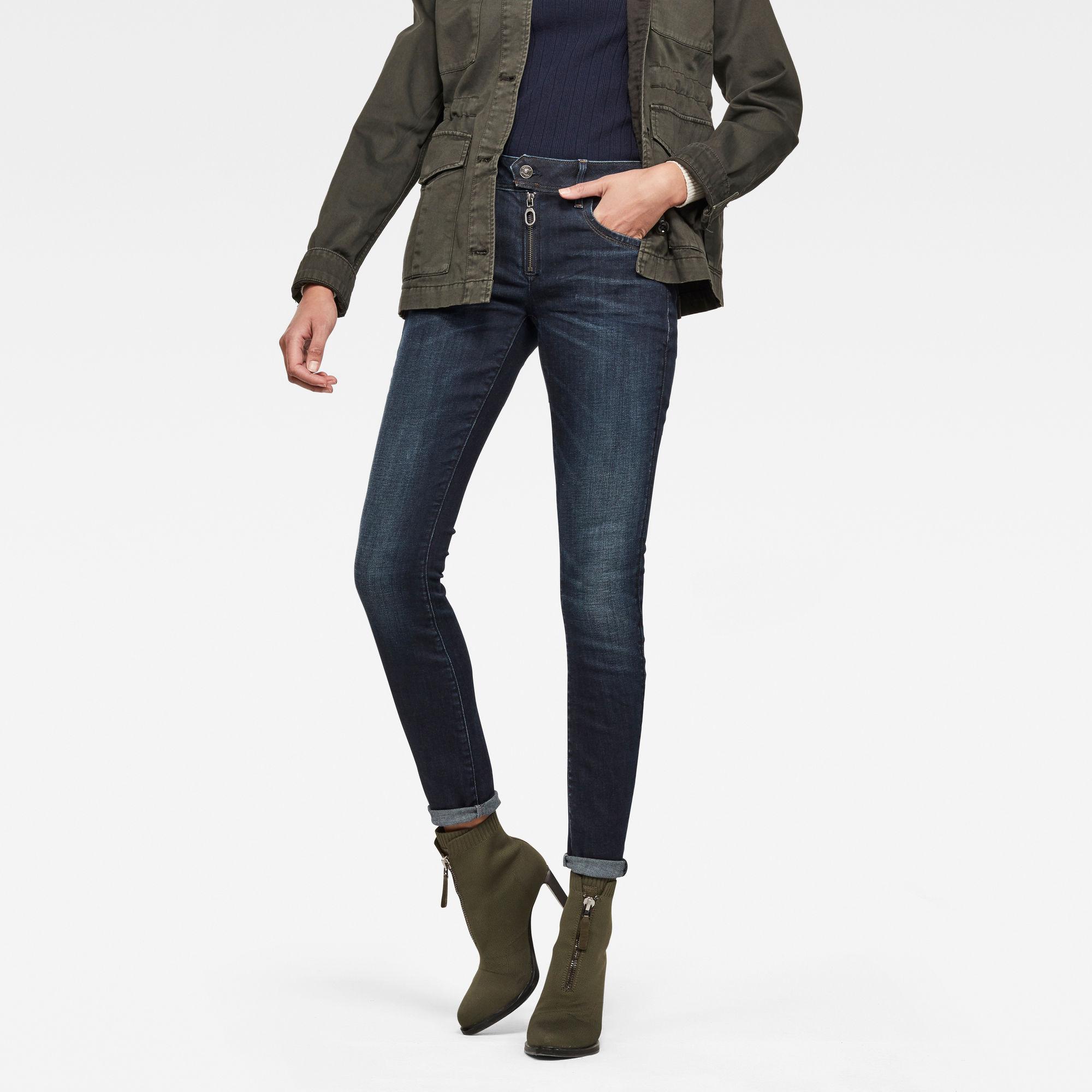 Image of G Star Raw Lynn Zipper Mid Waist Skinny Jeans