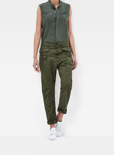 Army Radar Button Low Boyfriend Pants