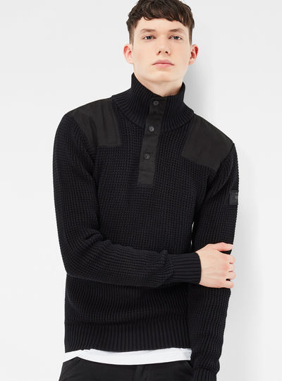Raw Utility Half Zip Knit