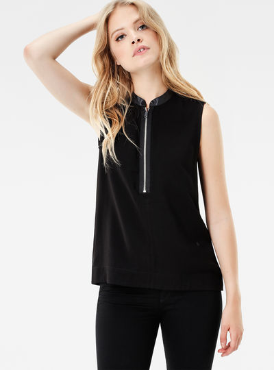 Core Zip Sleeveless Shirt