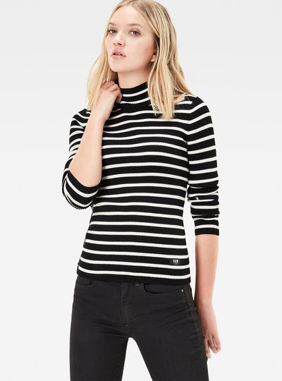 Iria Stripe Turtleneck Slim Knit Pullover