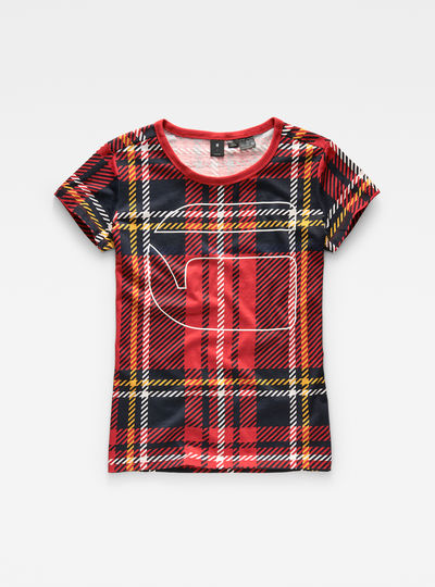 Royal Tartan Print Straight T-Shirt