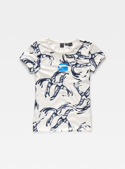 Chinese Willow Print Straight T-Shirt