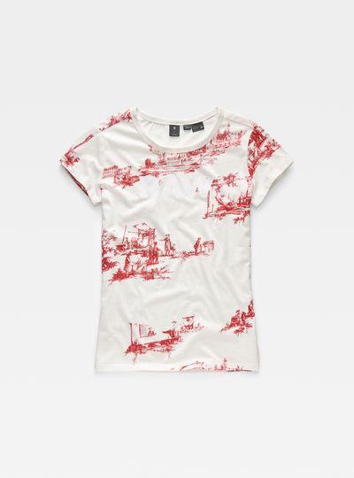 Toile de Jouy Print Straight T-Shirt