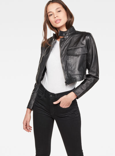 Aefon Cropped Biker Jacket