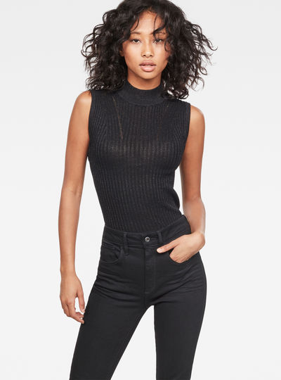 Lynn Mock-Turtle Sleeveless Knit