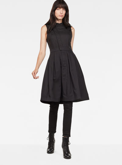Hybrid Archive Deconstructed Pleated Sleeveless Shirt Dress