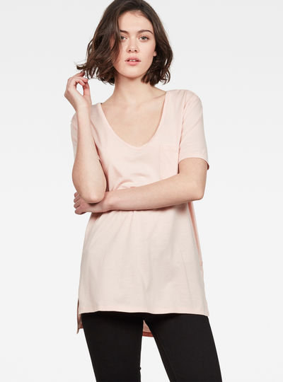 Ovvela Straight Deep V-Neck T-Shirt