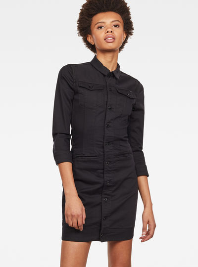 D-Staq 3/4-Sleeve Slim Denim Dress