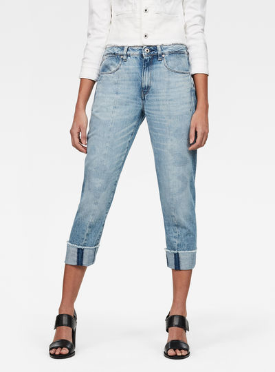 Lanc 3D High Waist waist Straight Ripped Jeans