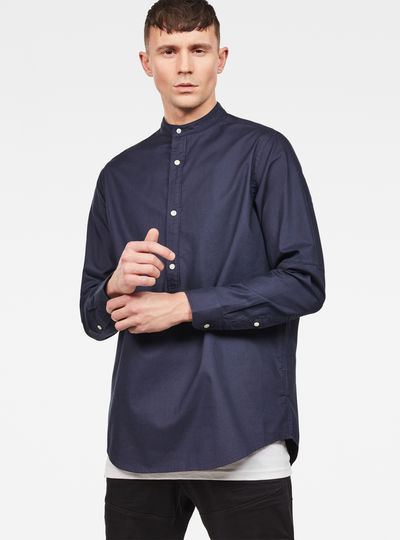 Bristum Collarless Relaxed 1/2-Closure Shirt