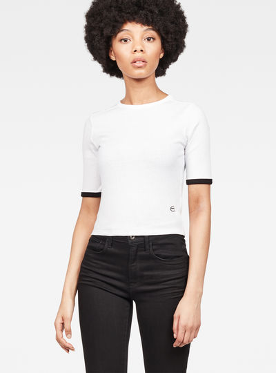 Silber Ringer Cropped T-Shirt