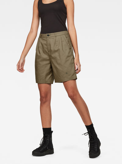 Bronson High Waist waist Loose Pleated Bermuda Shorts