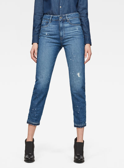 3301 Ultra High waist Straight Ripped 7/8-Length Jeans