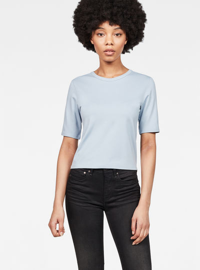 Silber Cropped T-Shirt