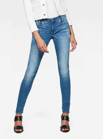 D-Staq 5-Pocket Mid waist Skinny Jeans