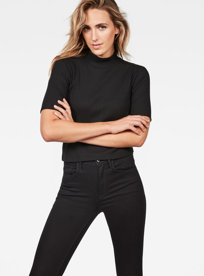 Silber Funnel Cropped T-Shirt