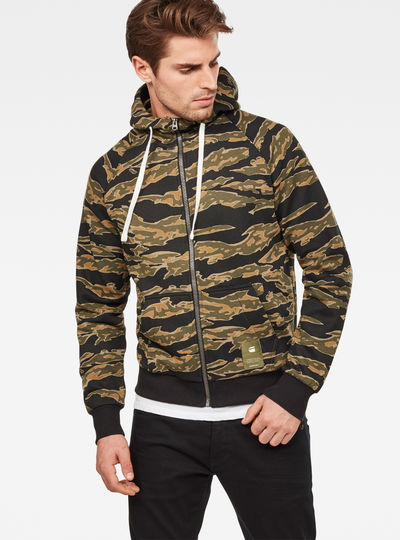 Manes Raglan Camo Hooded Zip Sweat