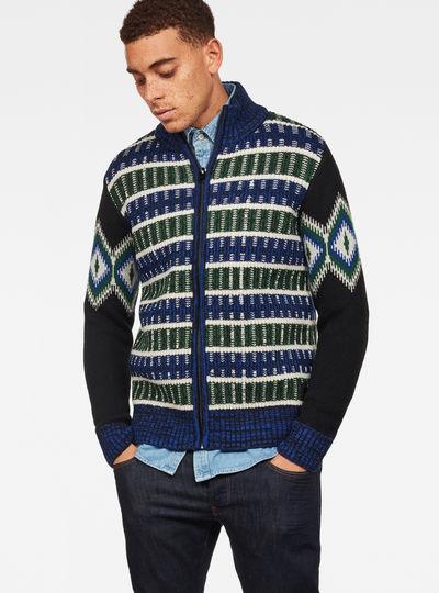 Rib Jacquard Zip Through Knit