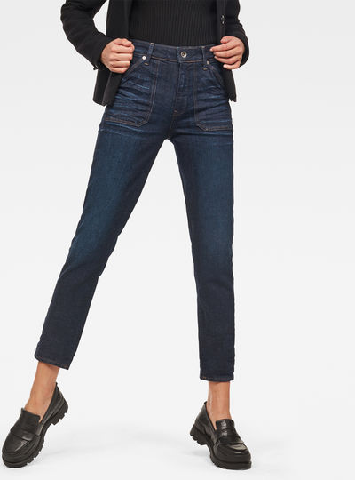 Midge Worker High Waist Straight Ankle Jeans