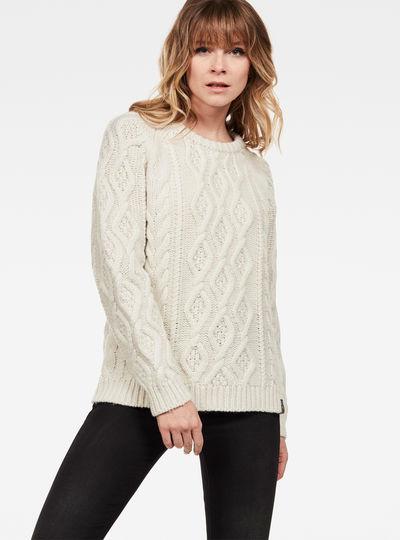 Aran r knit wmn l\s