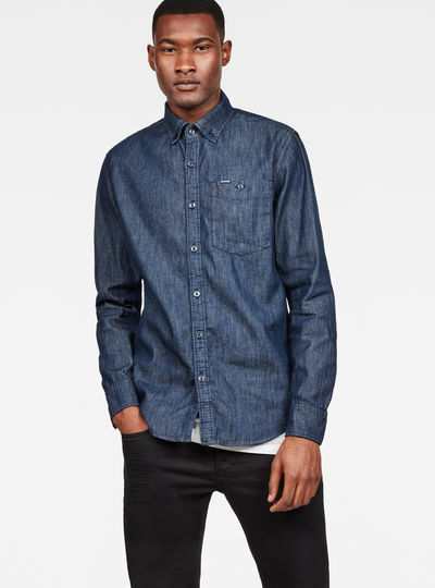 Core Button Down Denim Slim Shirt