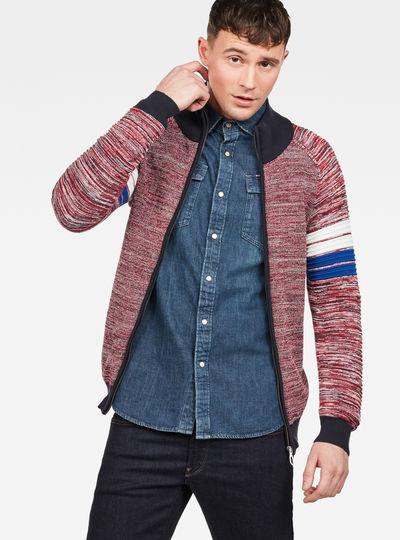 Suzaki Stripe Zip Through Knit