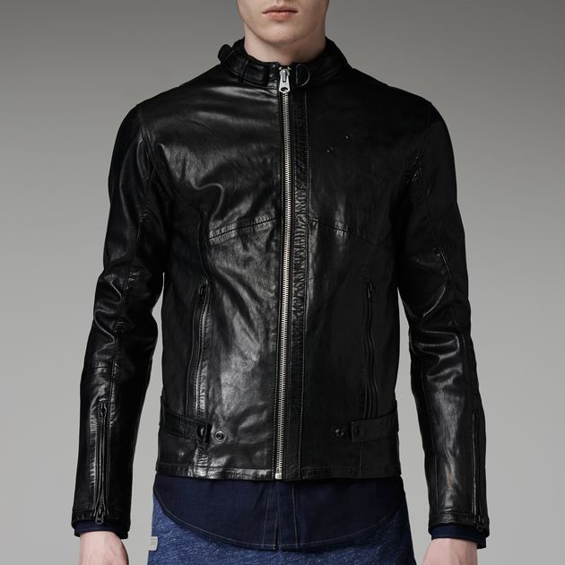 chopper leather jacket black men sale g star raw. Black Bedroom Furniture Sets. Home Design Ideas