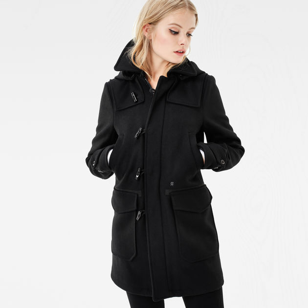 wool hooded duffle coat black women sale g star raw. Black Bedroom Furniture Sets. Home Design Ideas