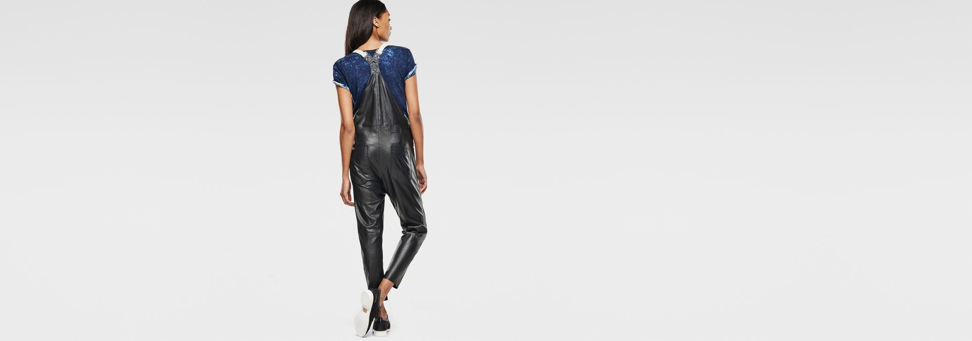... G-Star RAW® Type C Leather Salopette Black model back zoom ...