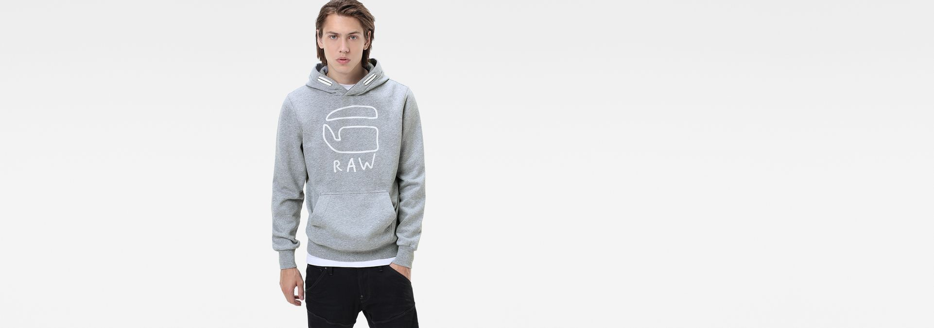 okisi hooded sweater grey htr men sale g star raw. Black Bedroom Furniture Sets. Home Design Ideas