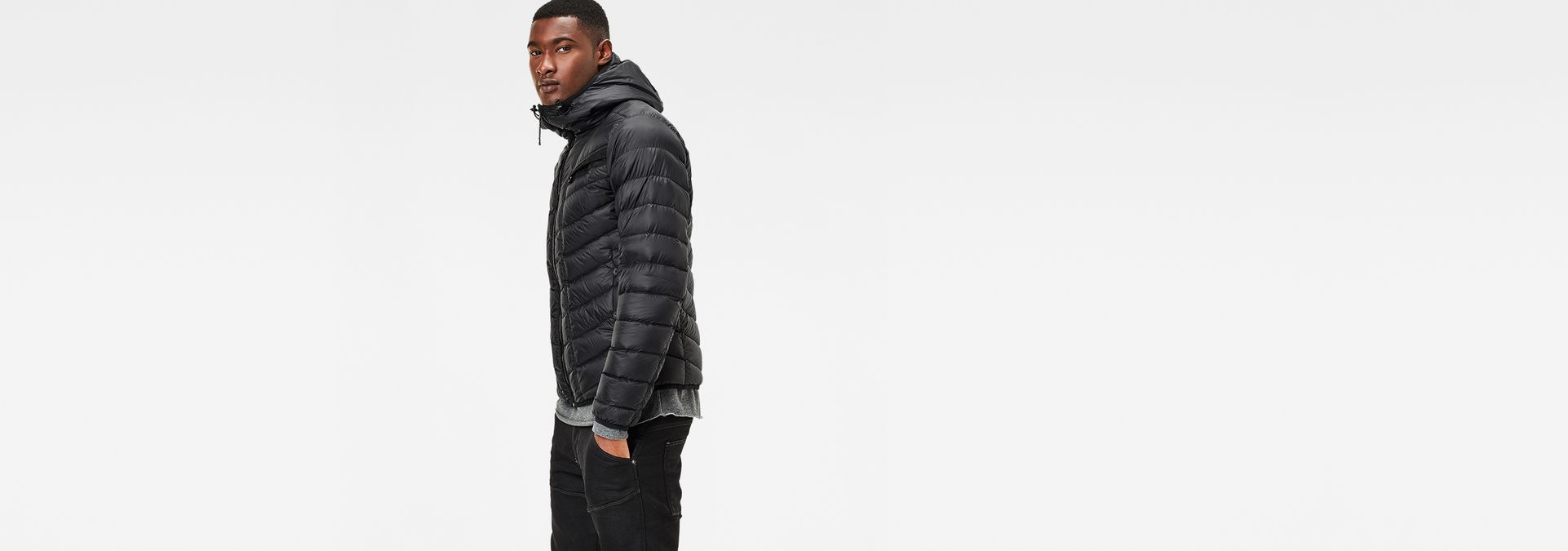 7986031759ca0 ... G-Star RAW® Attacc Solid Hooded Down Jacket Black model side ...