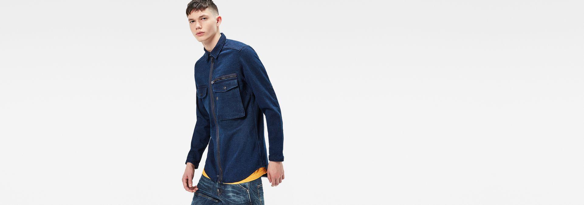 ... G-Star RAW® Type C Zip Overshirt Dark blue model side ...