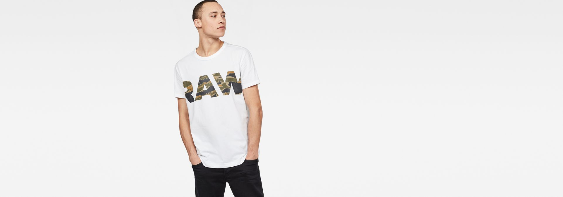 G-Star RAW® Tahire T-Shirt White model front ...