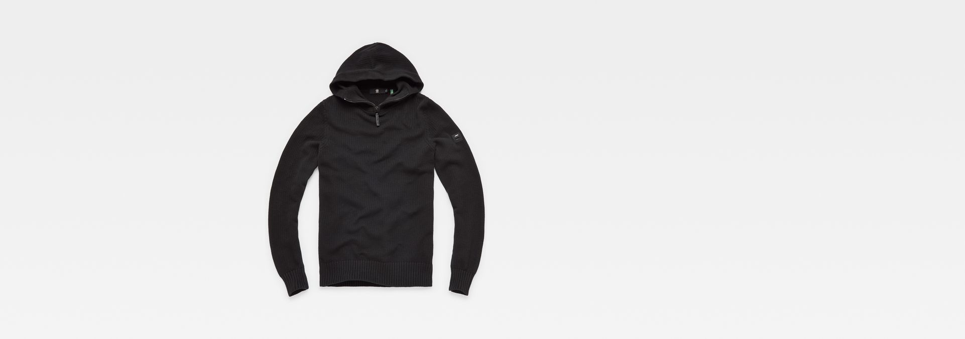 ... G-Star RAW® Omohundro Hooded Zip Knit Black flat front ...