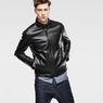 G-Star RAW® Re 3D Leather Biker Jacket Black model front