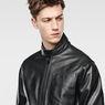 G-Star RAW® Re 3D Leather Biker Jacket Black flat front