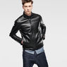 G-Star RAW® Re 3D Leather Biker Jacket Black model front