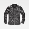 G-Star RAW® Deline Leather Jacket Black flat front