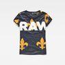 G-Star RAW® Fleur de Lys X25 Print Straight T-Shirt Dark blue model front