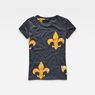 G-Star RAW® Fleur de Lys X25 Print Straight T-Shirt Dark blue model side